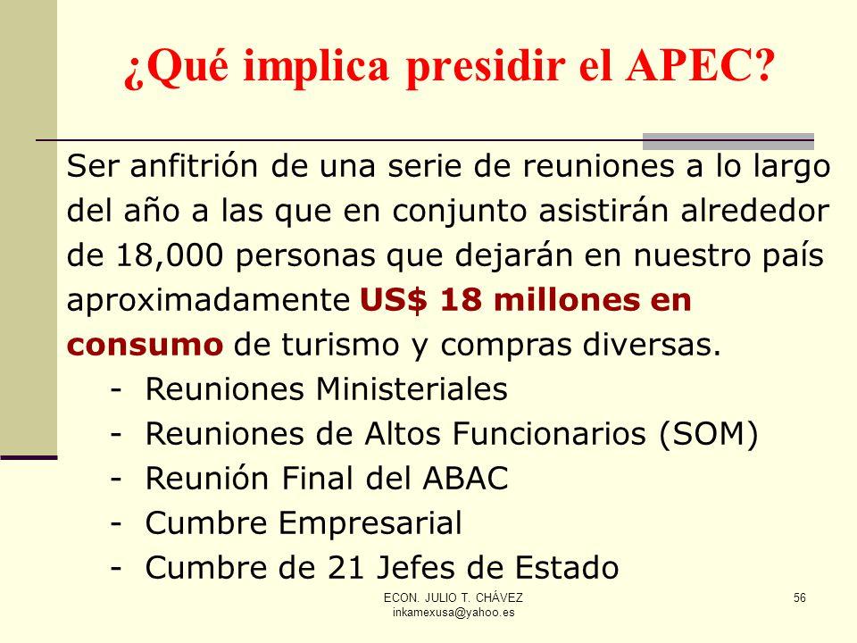 ECON. JULIO T. CHÁVEZ inkamexusa@yahoo.es 56 ¿Qué implica presidir el APEC? Ser anfitrión de una serie de reuniones a lo largo del año a las que en co