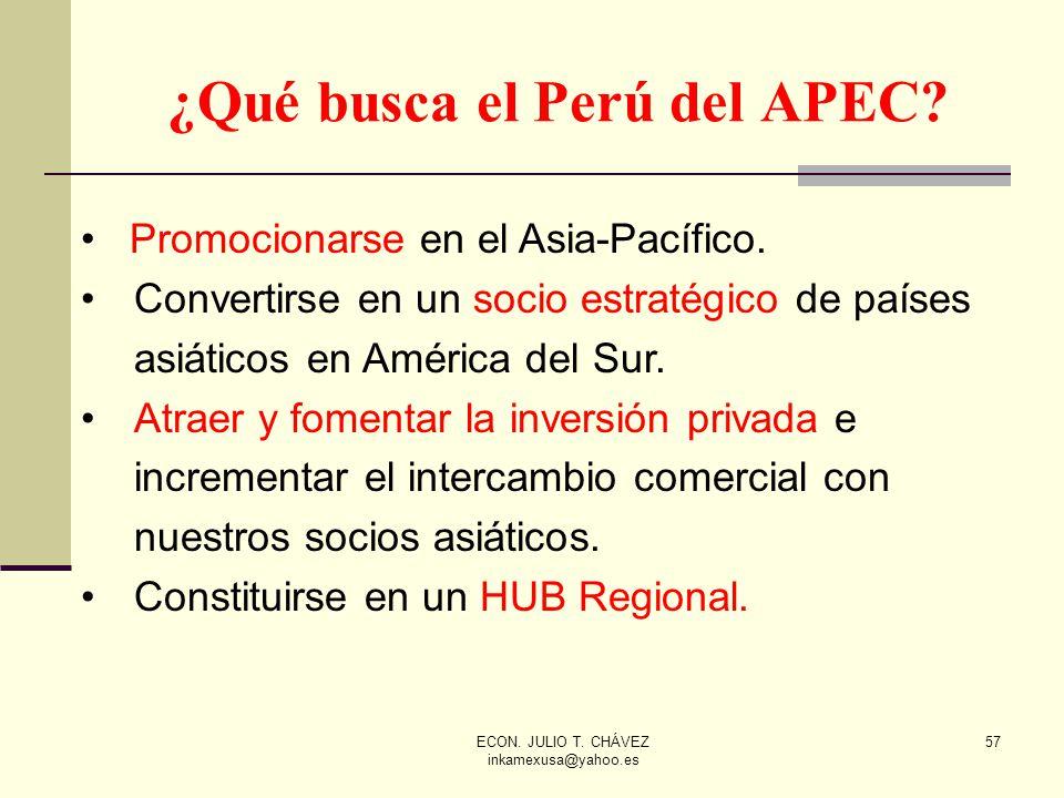 ECON. JULIO T. CHÁVEZ inkamexusa@yahoo.es 57 ¿Qué busca el Perú del APEC? Promocionarse en el Asia-Pacífico. Convertirse en un socio estratégico de pa