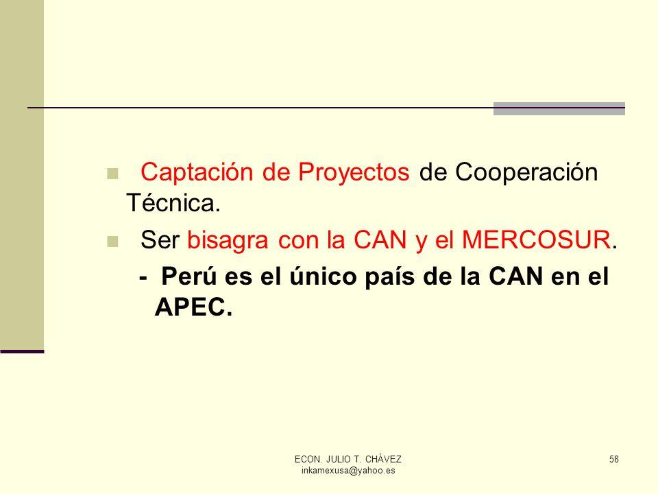 ECON. JULIO T. CHÁVEZ inkamexusa@yahoo.es 58 Captación de Proyectos de Cooperación Técnica. Ser bisagra con la CAN y el MERCOSUR. - Perú es el único p