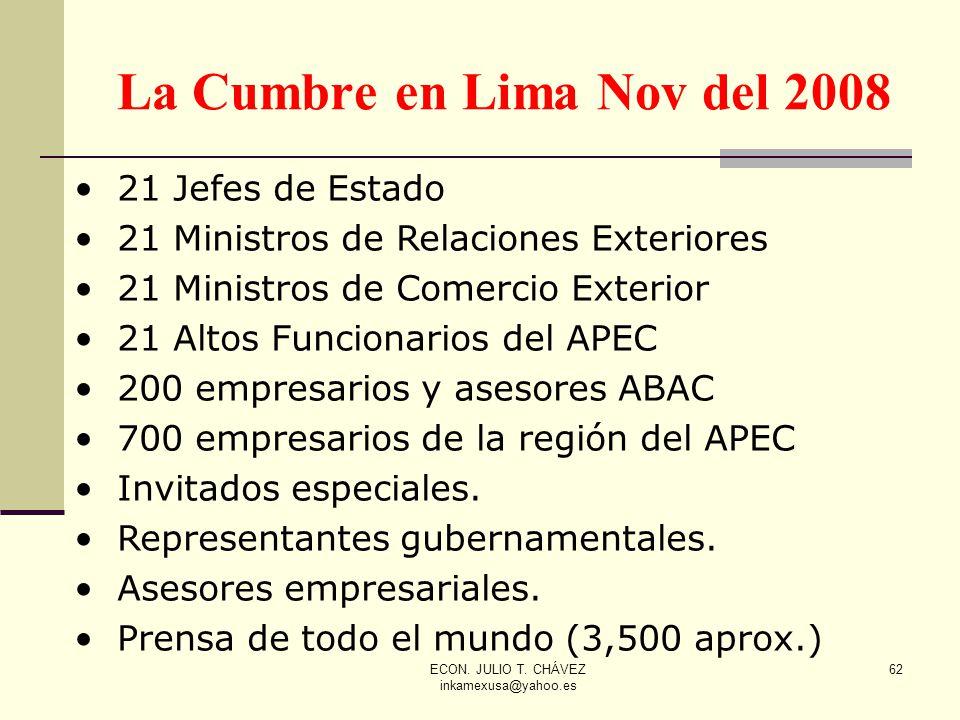 ECON. JULIO T. CHÁVEZ inkamexusa@yahoo.es 62 La Cumbre en Lima Nov del 2008 21 Jefes de Estado 21 Ministros de Relaciones Exteriores 21 Ministros de C