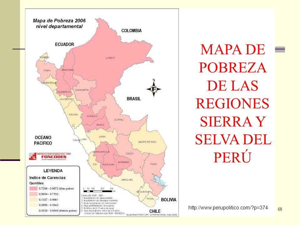 ECON. JULIO T. CHÁVEZ inkamexusa@yahoo.es 68 http://www.perupolitico.com/?p=374 MAPA DE POBREZA DE LAS REGIONES SIERRA Y SELVA DEL PERÚ