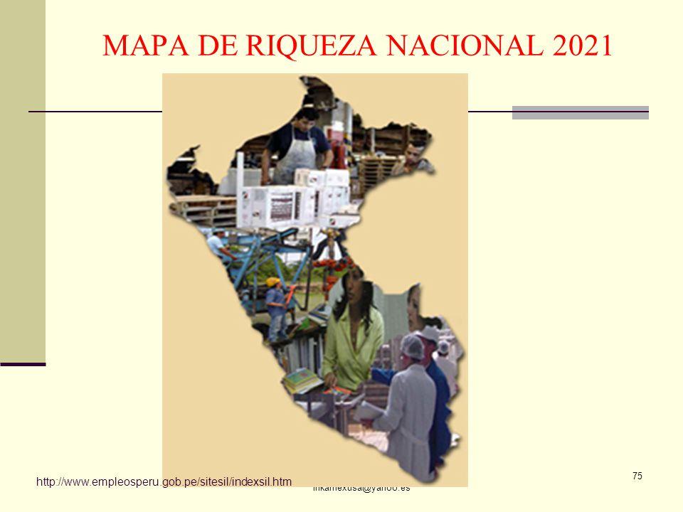 ECON. JULIO T. CHÁVEZ inkamexusa@yahoo.es 75 http://www.empleosperu.gob.pe/sitesil/indexsil.htm MAPA DE RIQUEZA NACIONAL 2021