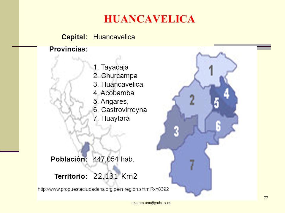 ECON. JULIO T. CHÁVEZ inkamexusa@yahoo.es 77 HUANCAVELICA Capital:Huancavelica Provincias: 1. Tayacaja 2. Churcampa 3. Huancavelica 4. Acobamba 5. Ang