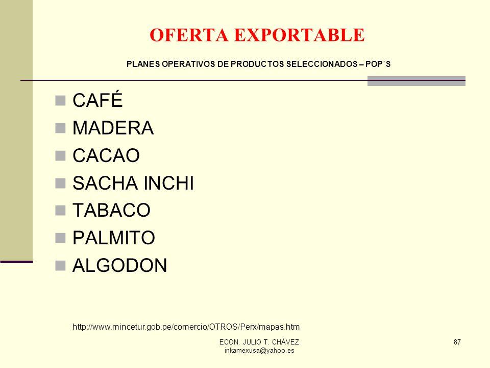 ECON. JULIO T. CHÁVEZ inkamexusa@yahoo.es 87 CAFÉ MADERA CACAO SACHA INCHI TABACO PALMITO ALGODON http://www.mincetur.gob.pe/comercio/OTROS/Perx/mapas