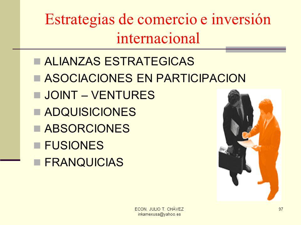ECON. JULIO T. CHÁVEZ inkamexusa@yahoo.es 97 Estrategias de comercio e inversión internacional ALIANZAS ESTRATEGICAS ASOCIACIONES EN PARTICIPACION JOI
