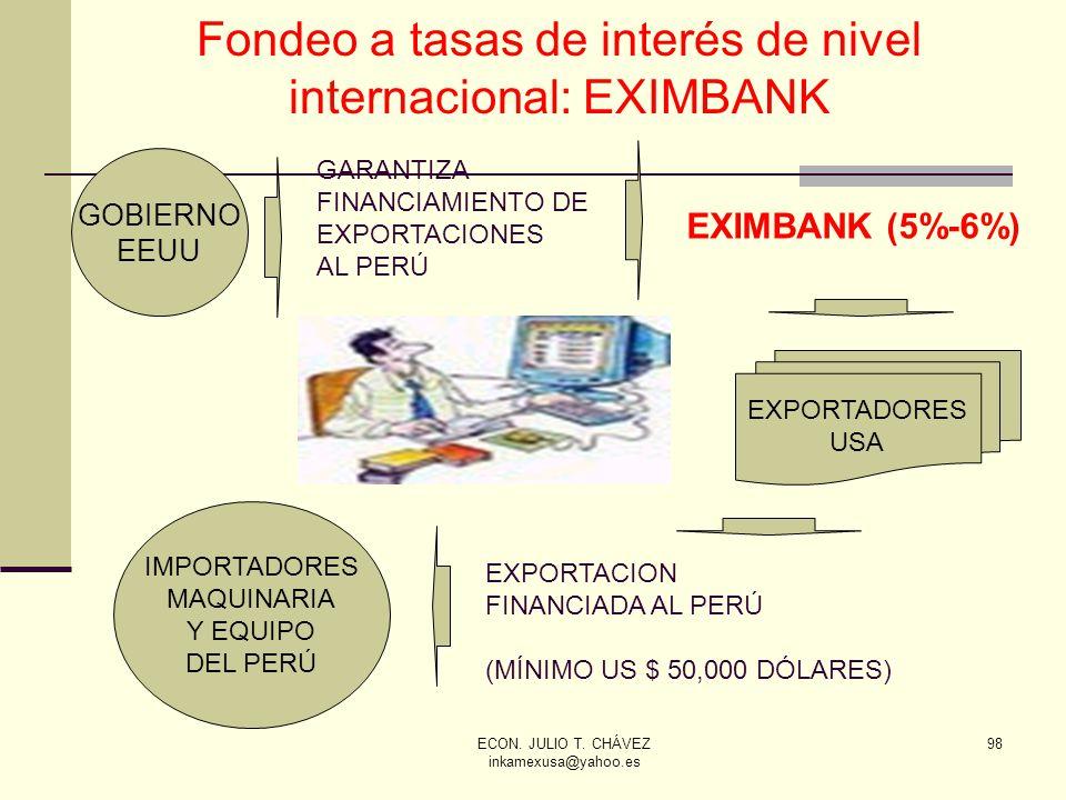 ECON. JULIO T. CHÁVEZ inkamexusa@yahoo.es 98 Fondeo a tasas de interés de nivel internacional: EXIMBANK GOBIERNO EEUU EXPORTADORES USA IMPORTADORES MA