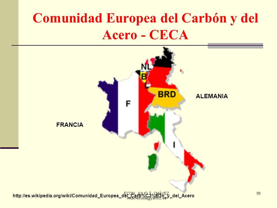ECON. JULIO T. CHÁVEZ inkamexusa@yahoo.es 99 Comunidad Europea del Carbón y del Acero - CECA http://es.wikipedia.org/wiki/Comunidad_Europea_del_Carb%C