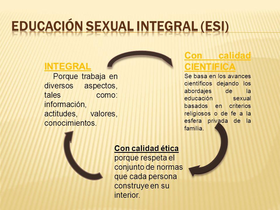 INTEGRAL Porque trabaja en diversos aspectos, tales como: información, actitudes, valores, conocimientos. Con calidad CIENTIFICA Se basa en los avance