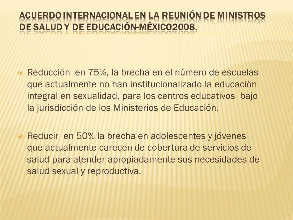 Reducción en 75%, la brecha en el número de escuelas que actualmente no han institucionalizado la educación integral en sexualidad, para los centros e