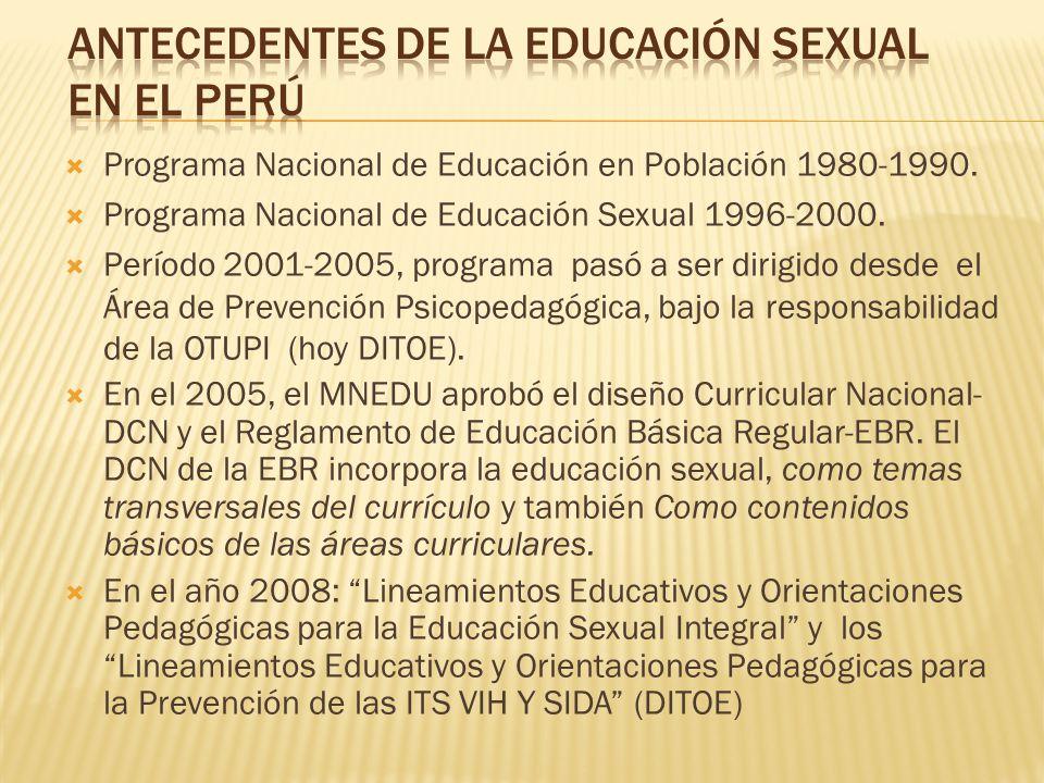 Programa Nacional de Educación en Población 1980-1990. Programa Nacional de Educación Sexual 1996-2000. Período 2001-2005, programa pasó a ser dirigid