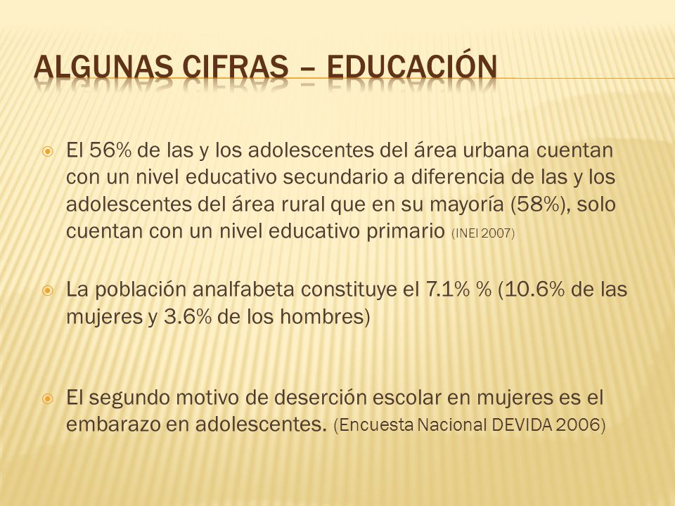 El 56% de las y los adolescentes del área urbana cuentan con un nivel educativo secundario a diferencia de las y los adolescentes del área rural que e