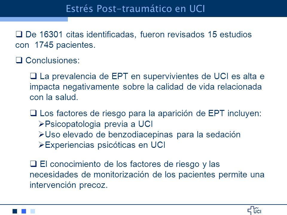 UCI Estrés Post-traumático en UCI De 16301 citas identificadas, fueron revisados 15 estudios con 1745 pacientes.
