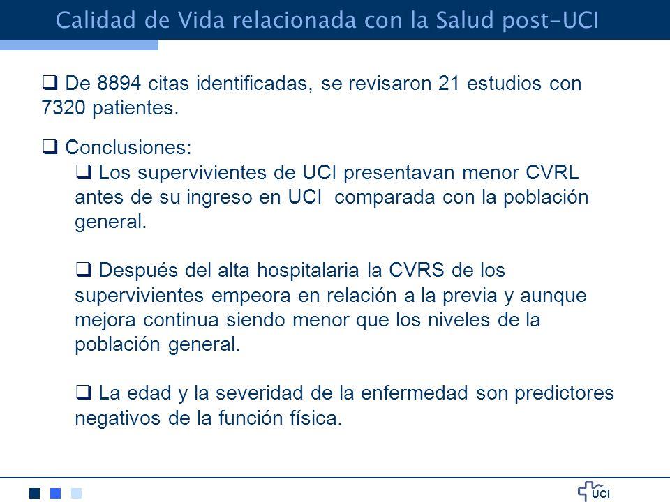 UCI Calidad de Vida relacionada con la Salud post-UCI De 8894 citas identificadas, se revisaron 21 estudios con 7320 patientes.