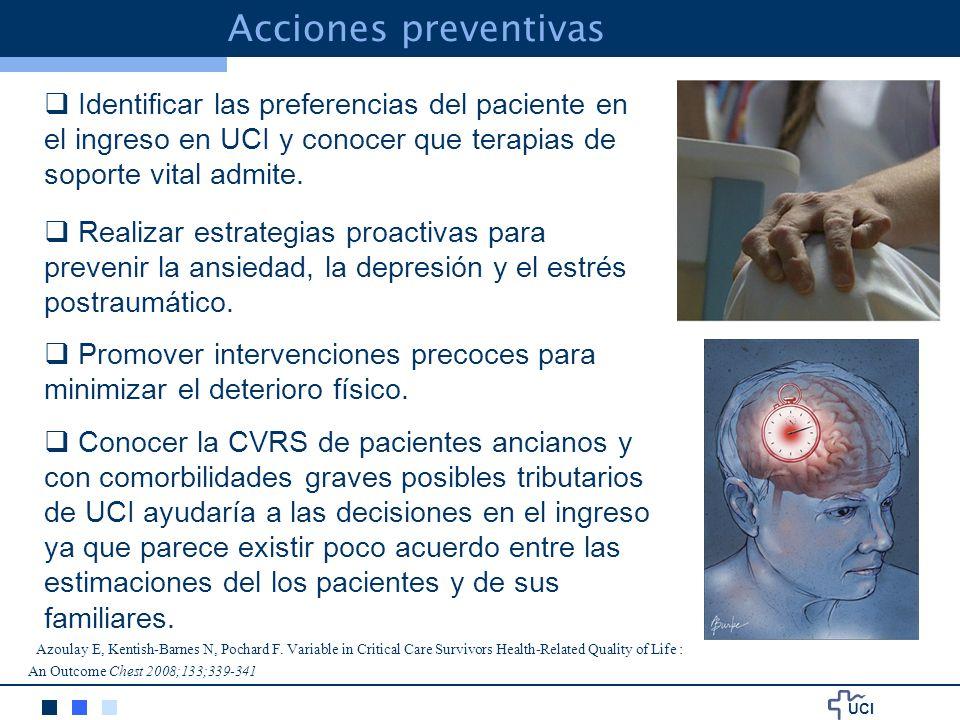 UCI Identificar las preferencias del paciente en el ingreso en UCI y conocer que terapias de soporte vital admite.