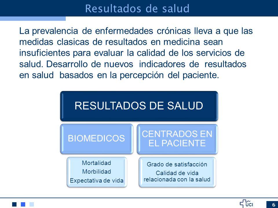 UCI 7 Calidad de vida relacionada con la salud como la capacidad que tiene el individuo para realizar aquellas actividades importantes relativas al componente funcional, afectivo y social, los cuales están influenciadas por la percepción subjetiva (OMS) Resultados de salud