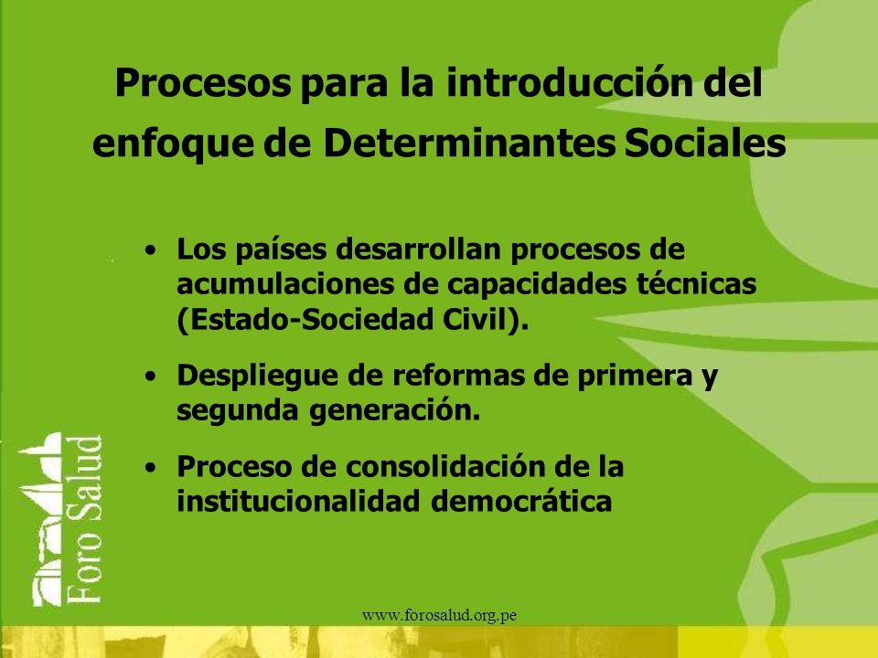www.forosalud.org.pe Procesos para la introducción del enfoque de Determinantes Sociales Los países desarrollan procesos de acumulaciones de capacidad