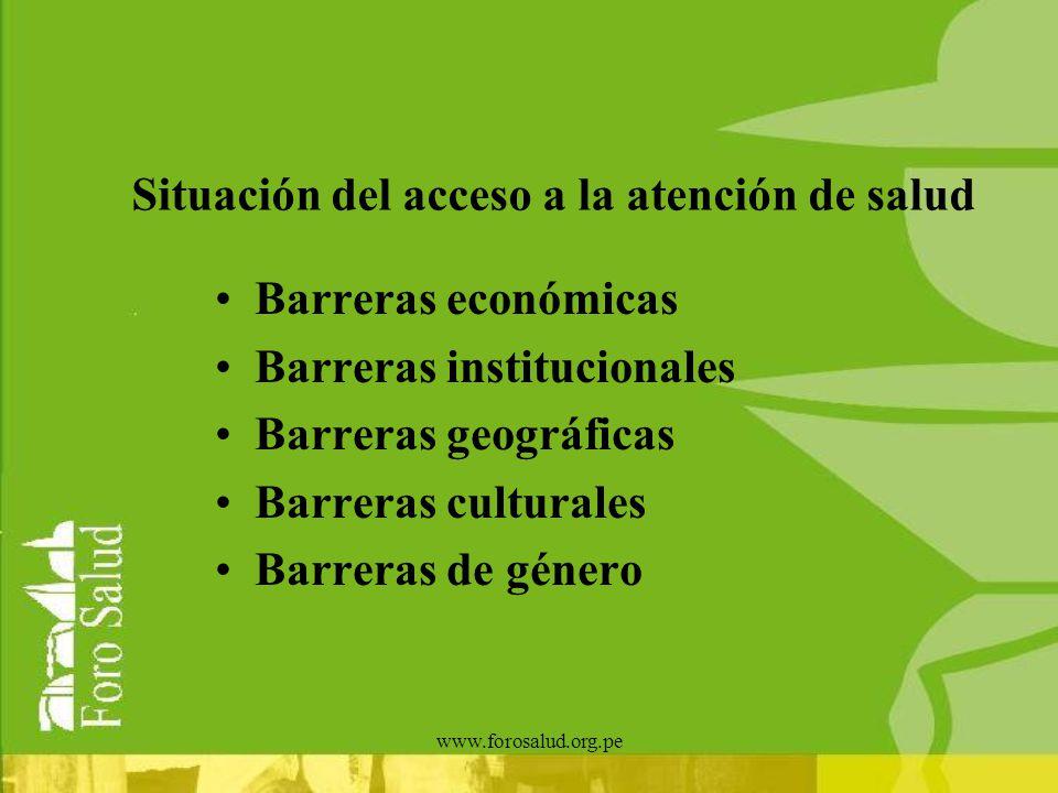 www.forosalud.org.pe Situación del acceso a la atención de salud Barreras económicas Barreras institucionales Barreras geográficas Barreras culturales