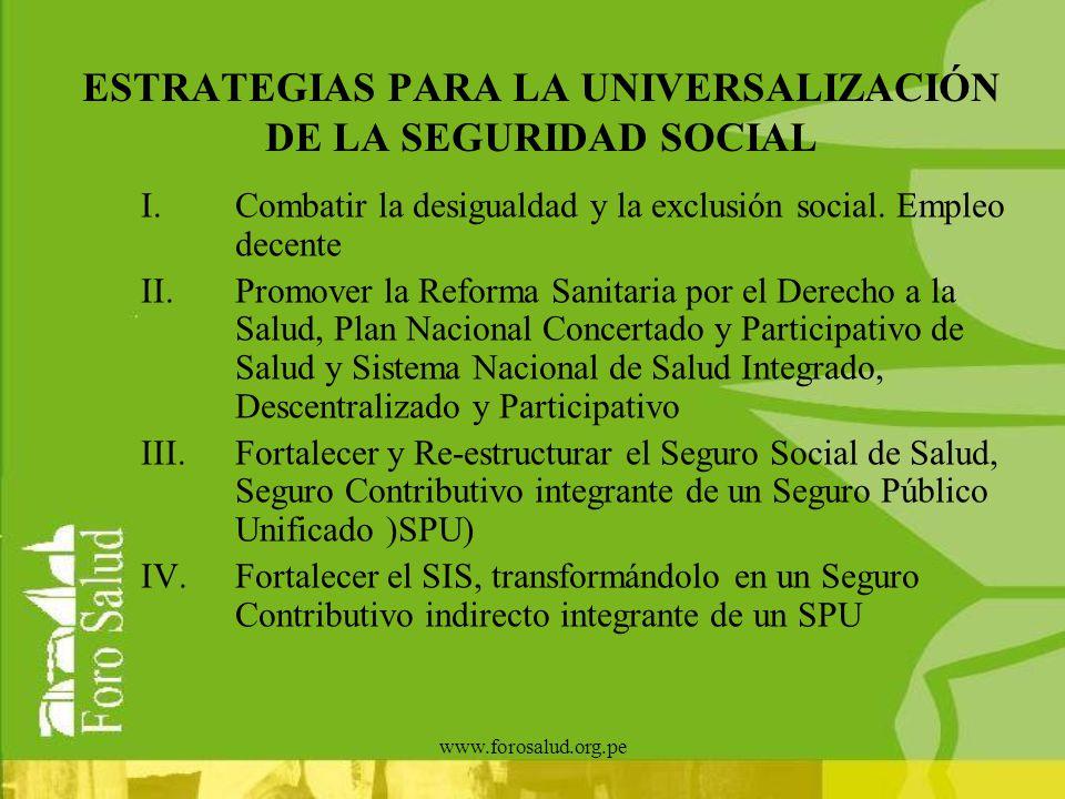 www.forosalud.org.pe ESTRATEGIAS PARA LA UNIVERSALIZACIÓN DE LA SEGURIDAD SOCIAL I.Combatir la desigualdad y la exclusión social. Empleo decente II.Pr