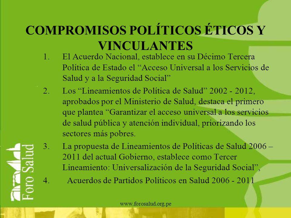 www.forosalud.org.pe COMPROMISOS POLÍTICOS ÉTICOS Y VINCULANTES 1.El Acuerdo Nacional, establece en su Décimo Tercera Política de Estado el Acceso Uni