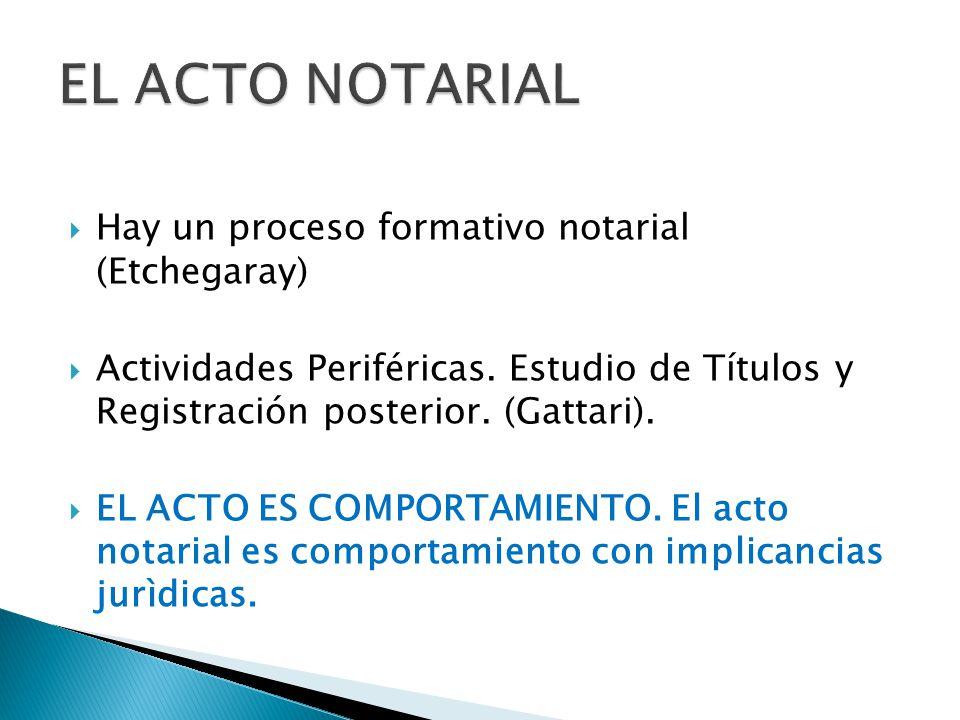 Hay un proceso formativo notarial (Etchegaray) Actividades Periféricas. Estudio de Títulos y Registración posterior. (Gattari). EL ACTO ES COMPORTAMIE