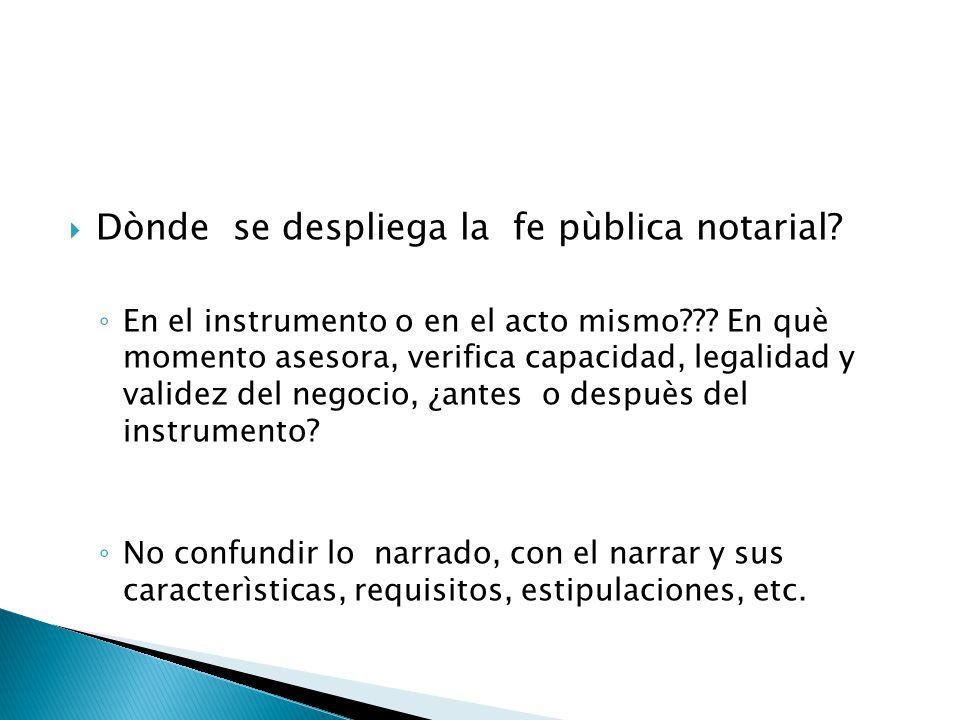 Dònde se despliega la fe pùblica notarial? En el instrumento o en el acto mismo??? En què momento asesora, verifica capacidad, legalidad y validez del