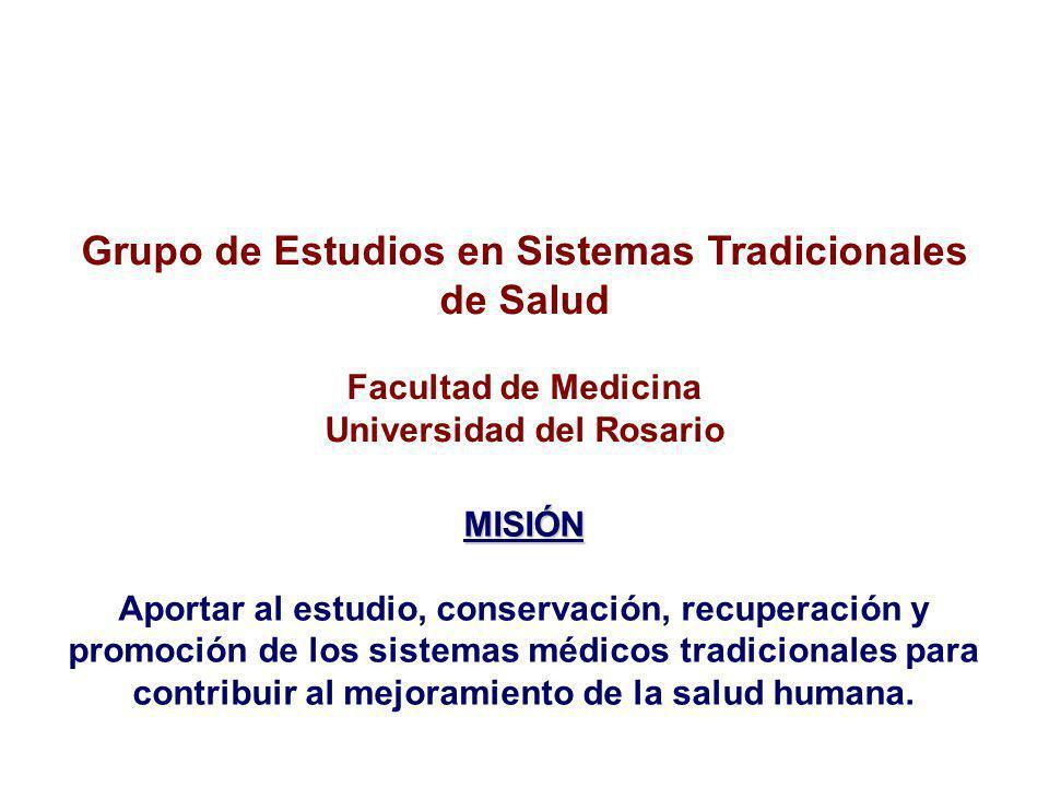 Grupo de Estudios en Sistemas Tradicionales de Salud Facultad de Medicina Universidad del Rosario MISIÓN Aportar al estudio, conservación, recuperación y promoción de los sistemas médicos tradicionales para contribuir al mejoramiento de la salud humana.