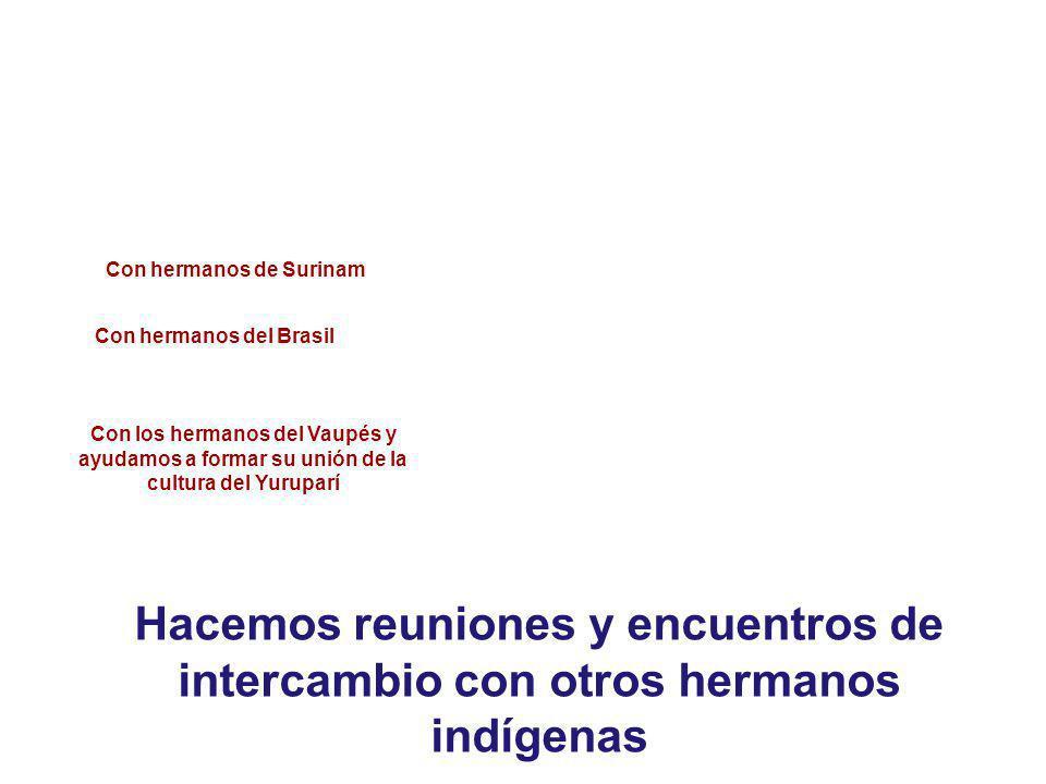 Hacemos reuniones y encuentros de intercambio con otros hermanos indígenas Con los hermanos del Vaupés y ayudamos a formar su unión de la cultura del Yuruparí Con hermanos de Surinam Con hermanos del Brasil