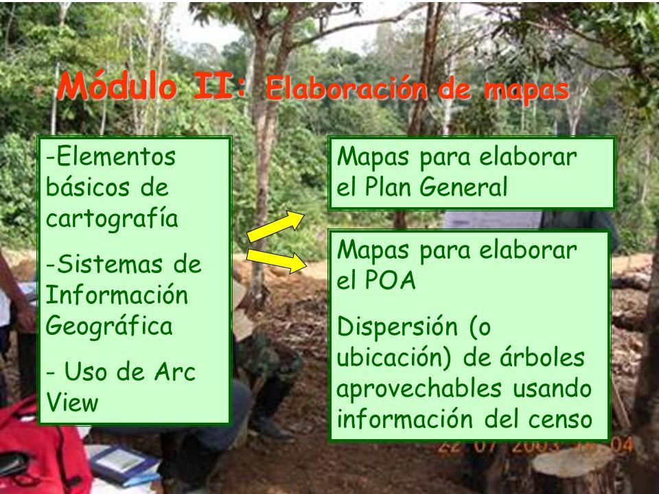 Módulo II: Elaboración de mapas -Elementos básicos de cartografía -Sistemas de Información Geográfica - Uso de Arc View Mapas para elaborar el Plan General Mapas para elaborar el POA Dispersión (o ubicación) de árboles aprovechables usando información del censo