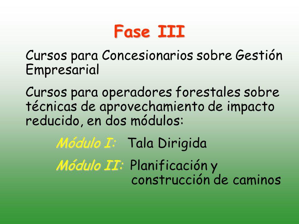 Fase III Cursos para Concesionarios sobre Gestión Empresarial Cursos para operadores forestales sobre técnicas de aprovechamiento de impacto reducido, en dos módulos: Módulo I: Módulo I: Tala Dirigida Módulo II: Módulo II: Planificación y construcción de caminos