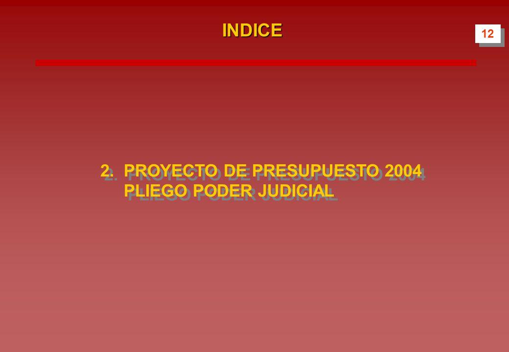 INDICE 2.PROYECTO DE PRESUPUESTO 2004 PLIEGO PODER JUDICIAL 12