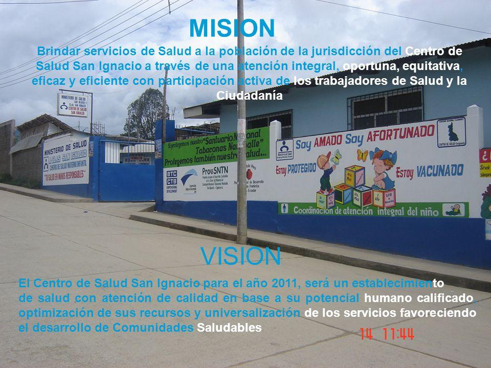 MISION Brindar servicios de Salud a la población de la jurisdicción del Centro de Salud San Ignacio a través de una atención integral, oportuna, equit