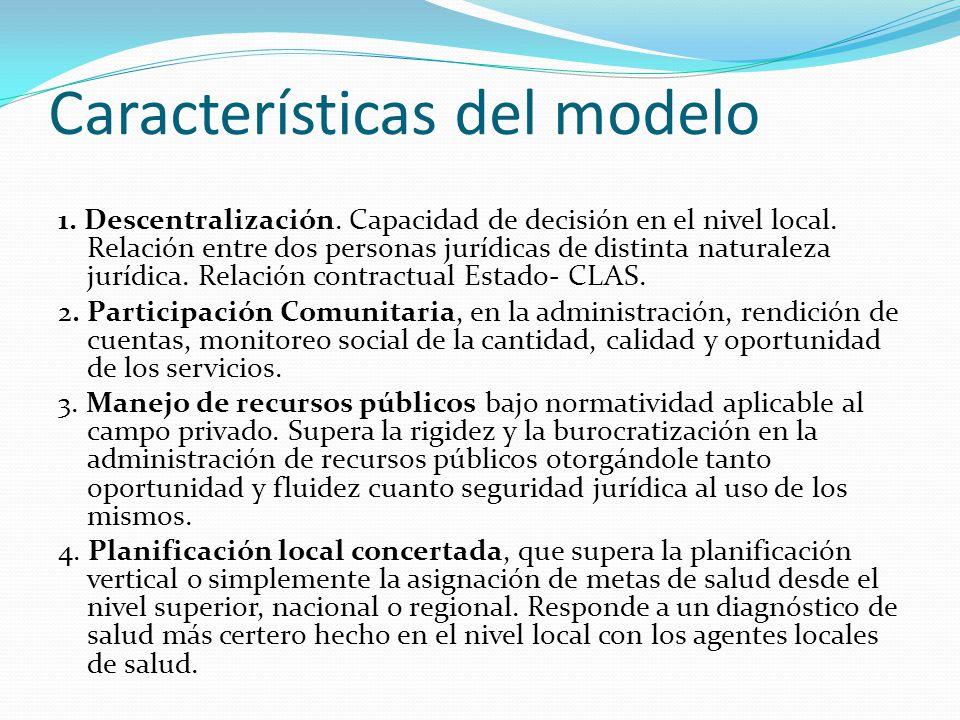 Características del modelo 1. Descentralización. Capacidad de decisión en el nivel local. Relación entre dos personas jurídicas de distinta naturaleza