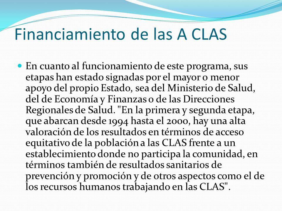 Financiamiento de las A CLAS En cuanto al funcionamiento de este programa, sus etapas han estado signadas por el mayor o menor apoyo del propio Estado
