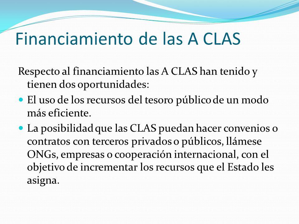 Financiamiento de las A CLAS Respecto al financiamiento las A CLAS han tenido y tienen dos oportunidades: El uso de los recursos del tesoro público de