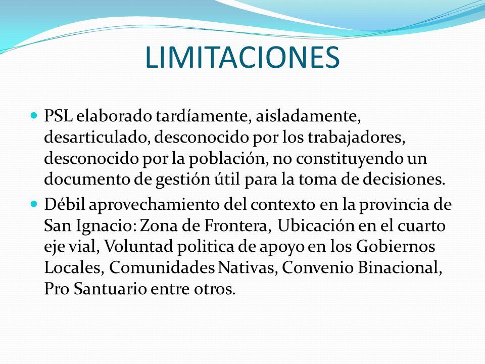 LIMITACIONES PSL elaborado tardíamente, aisladamente, desarticulado, desconocido por los trabajadores, desconocido por la población, no constituyendo