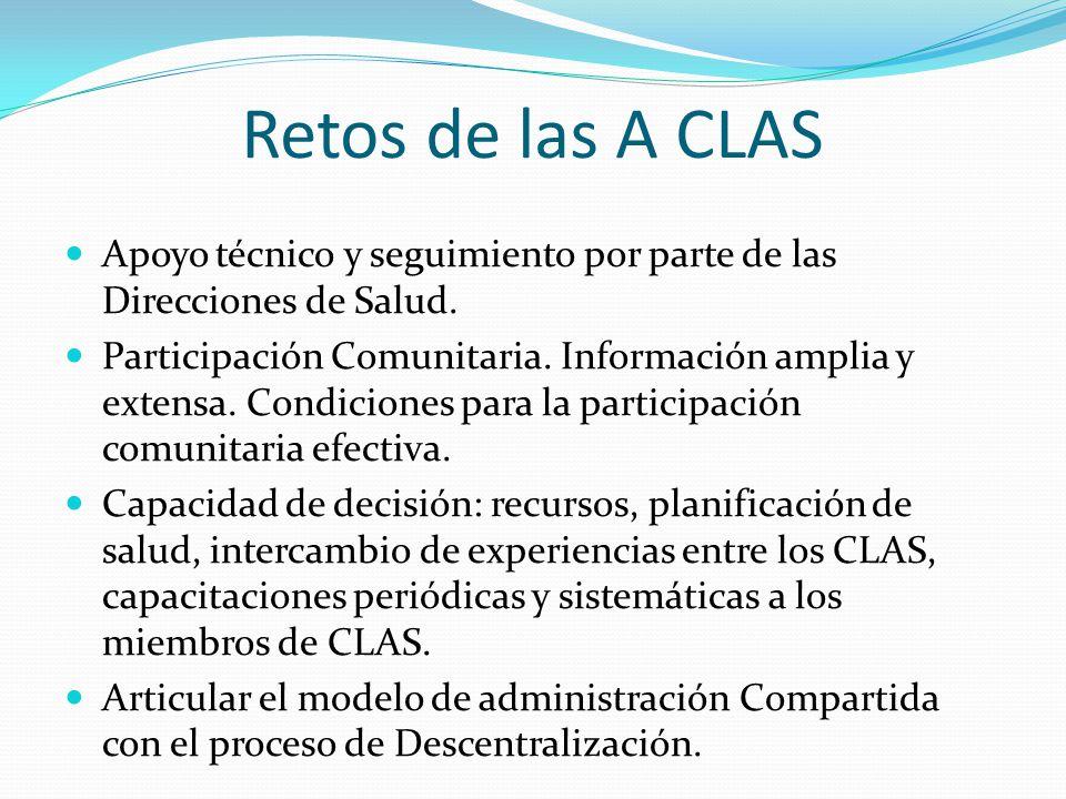 Retos de las A CLAS Apoyo técnico y seguimiento por parte de las Direcciones de Salud. Participación Comunitaria. Información amplia y extensa. Condic