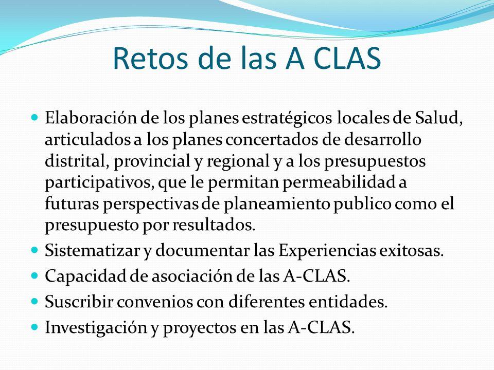 Retos de las A CLAS Elaboración de los planes estratégicos locales de Salud, articulados a los planes concertados de desarrollo distrital, provincial