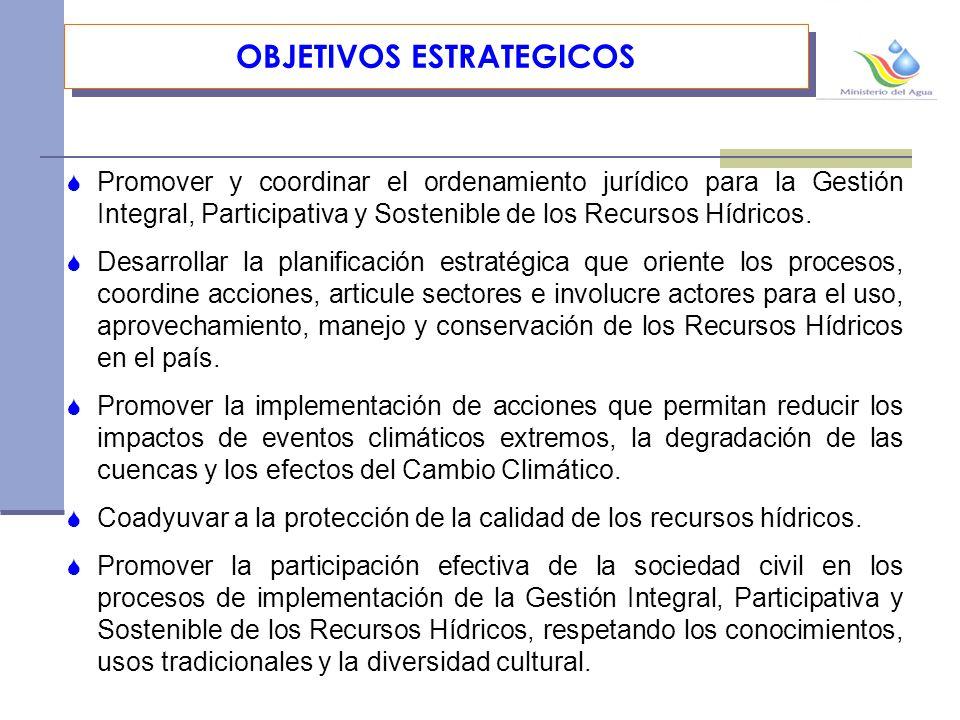 OBJETIVOS ESTRATEGICOS Promover y coordinar el ordenamiento jurídico para la Gestión Integral, Participativa y Sostenible de los Recursos Hídricos.