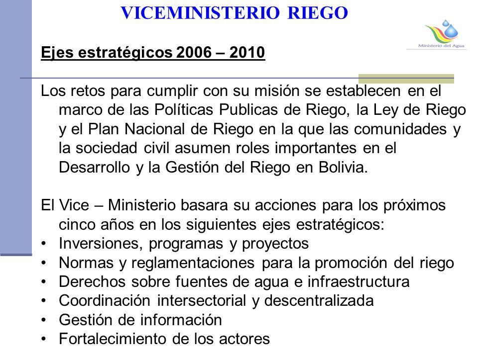 VICEMINISTERIO RIEGO Ejes estratégicos 2006 – 2010 Los retos para cumplir con su misión se establecen en el marco de las Políticas Publicas de Riego, la Ley de Riego y el Plan Nacional de Riego en la que las comunidades y la sociedad civil asumen roles importantes en el Desarrollo y la Gestión del Riego en Bolivia.