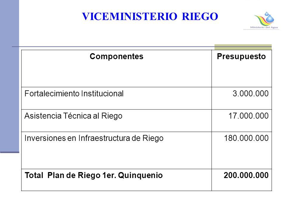 VICEMINISTERIO RIEGO ComponentesPresupuesto Fortalecimiento Institucional3.000.000 Asistencia Técnica al Riego17.000.000 Inversiones en Infraestructura de Riego 180.000.000 Total Plan de Riego 1er.
