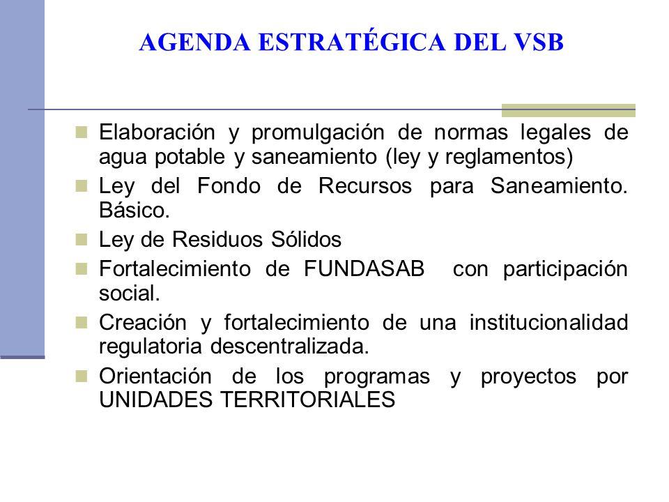 AGENDA ESTRATÉGICA DEL VSB Elaboración y promulgación de normas legales de agua potable y saneamiento (ley y reglamentos) Ley del Fondo de Recursos para Saneamiento.