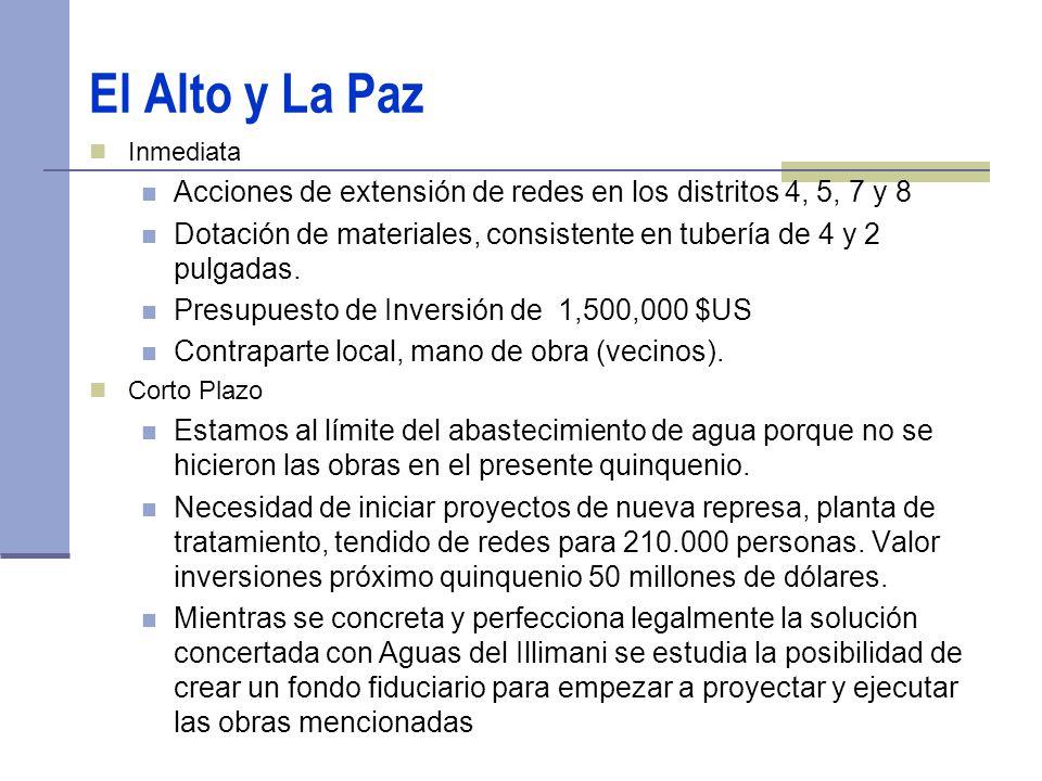 El Alto y La Paz Inmediata Acciones de extensión de redes en los distritos 4, 5, 7 y 8 Dotación de materiales, consistente en tubería de 4 y 2 pulgadas.