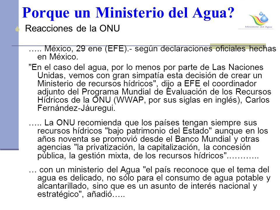 Porque un Ministerio del Agua.Reacciones de la ONU …..