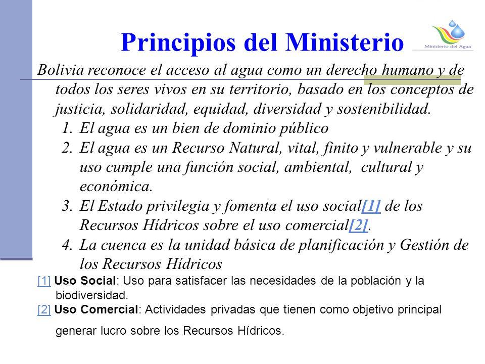 Principios del Ministerio Bolivia reconoce el acceso al agua como un derecho humano y de todos los seres vivos en su territorio, basado en los conceptos de justicia, solidaridad, equidad, diversidad y sostenibilidad.