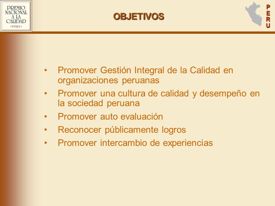 PERUPERUPERUPERU OBJETIVOS Promover Gestión Integral de la Calidad en organizaciones peruanas Promover una cultura de calidad y desempeño en la sociedad peruana Promover auto evaluación Reconocer públicamente logros Promover intercambio de experiencias