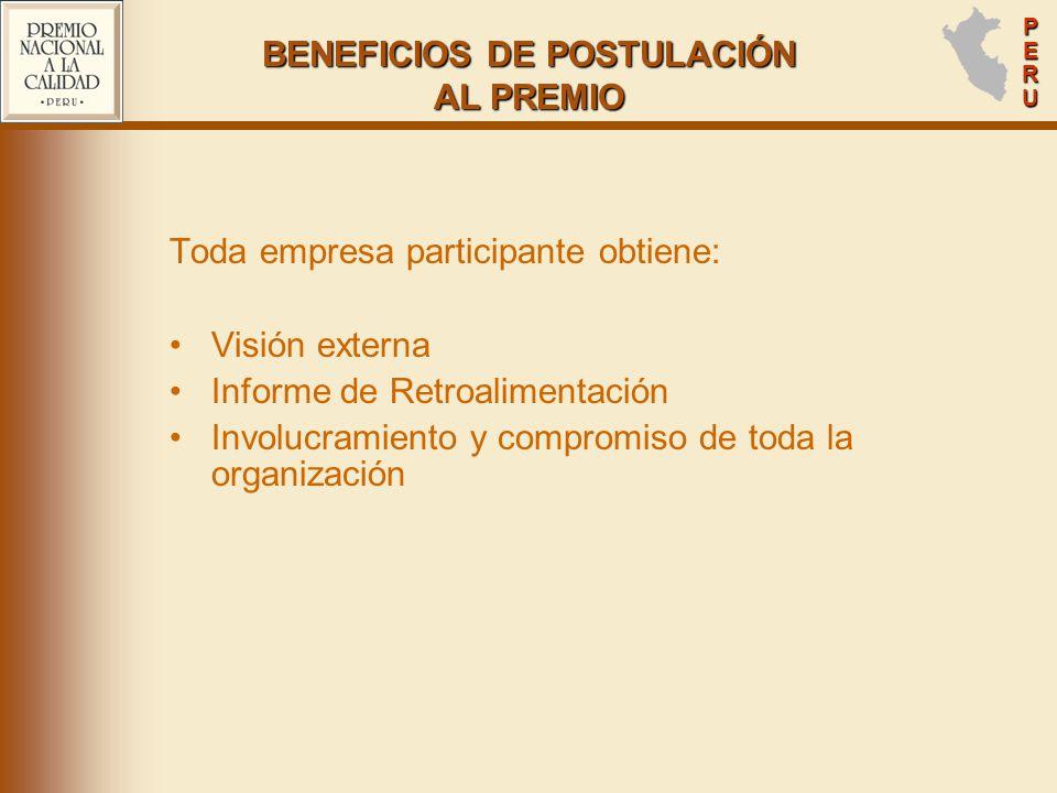 PERUPERUPERUPERU BENEFICIOS DE POSTULACIÓN AL PREMIO Toda empresa participante obtiene: Visión externa Informe de Retroalimentación Involucramiento y compromiso de toda la organización