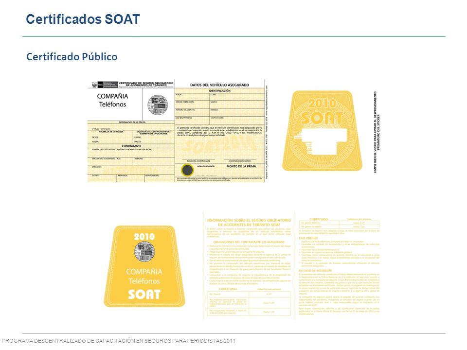 PROGRAMA DESCENTRALIZADO DE CAPACITACIÓN EN SEGUROS PARA PERIODISTAS 2011 Certificados SOAT Certificado Público