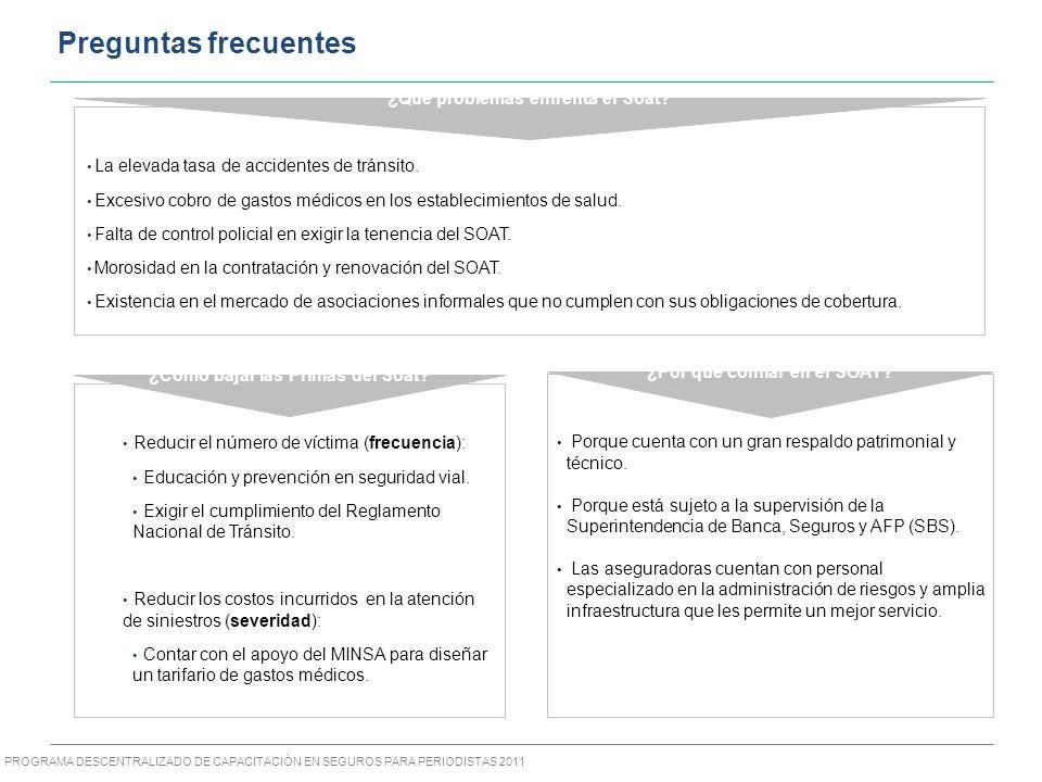 PROGRAMA DESCENTRALIZADO DE CAPACITACIÓN EN SEGUROS PARA PERIODISTAS 2011 La elevada tasa de accidentes de tránsito.