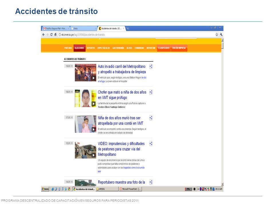 PROGRAMA DESCENTRALIZADO DE CAPACITACIÓN EN SEGUROS PARA PERIODISTAS 2011 Accidentes de tránsito