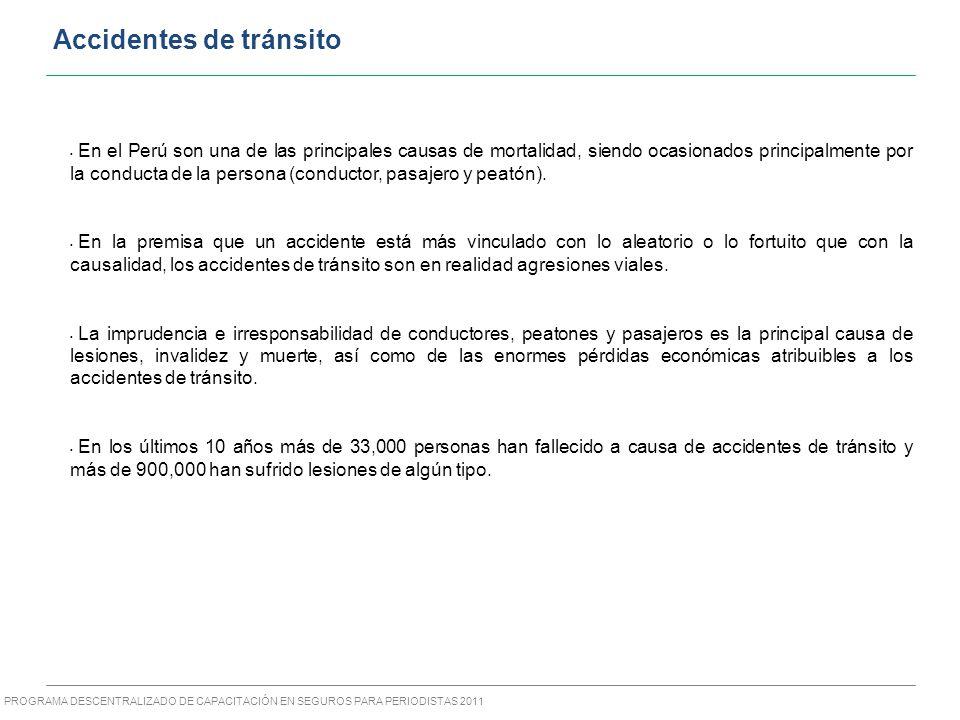 PROGRAMA DESCENTRALIZADO DE CAPACITACIÓN EN SEGUROS PARA PERIODISTAS 2011 Accidentes de tránsito En el Perú son una de las principales causas de mortalidad, siendo ocasionados principalmente por la conducta de la persona (conductor, pasajero y peatón).